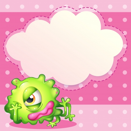 Illustration of an empty cloud template at the back of a green monster Vector