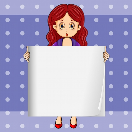 Illustration of a shocked girl holding an empty signboard Vector