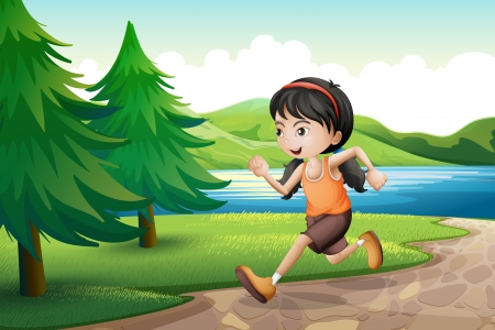 Illustration of a girl running near the riverbank with pine trees Vector