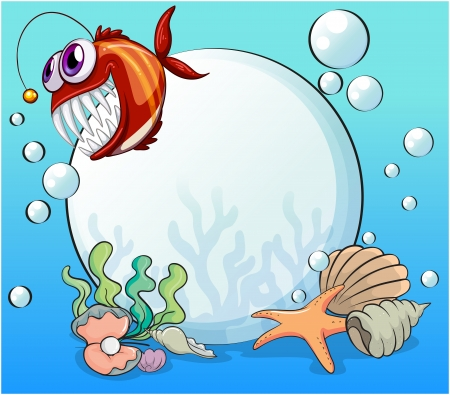 Illustration of a big pearl and the smiling piranha under the sea Vector