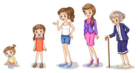 mom daughter: Illustration of the phases of a growing female on a white background