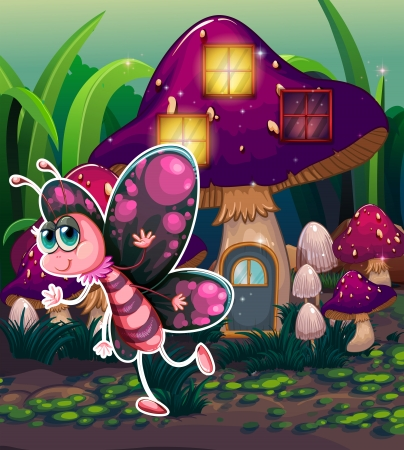 giant mushroom: Illustration of a colorful butterfly near the lighted mushroom house