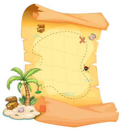 Illustratie van een grote schatkaart en een eiland op een witte achtergrond