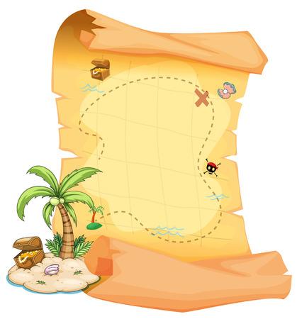 isla del tesoro: Ilustración de un gran mapa del tesoro y una isla sobre un fondo blanco