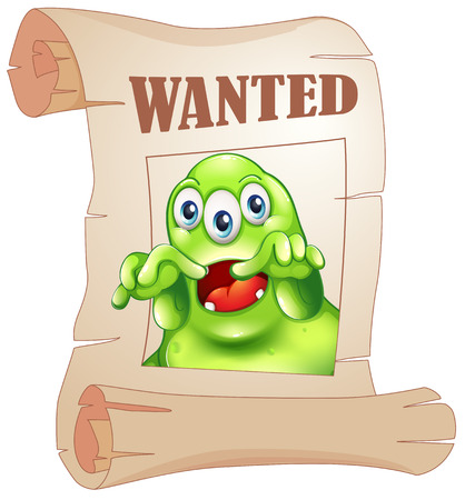 Illustration of a wanted three-eyed monster in a poster on a white background Vector