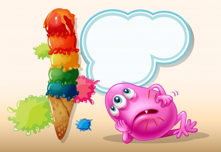 Illustration of a dying pink beanie monster near the icecream Illustration