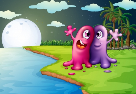 illustration of the two bestfriends at the riverbank Vector