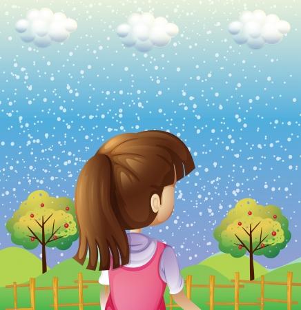 niñas: Ilustración de una niña mirando los árboles con frutas