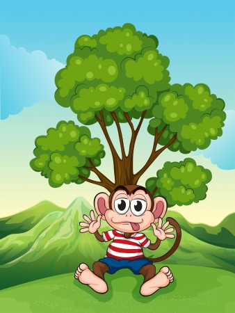 tall tree: Illustration of a monkey at the hilltop sitting under the tree Illustration