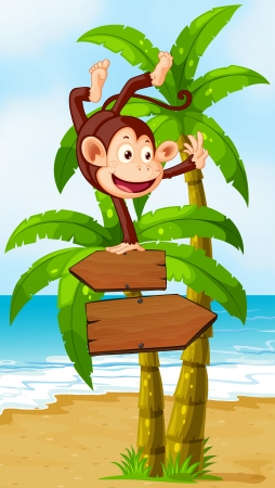Illustration of a monkey balancing at the top of the arrowboard at the beach Vector