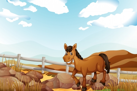 Illustration of a horse near the rocks Vector