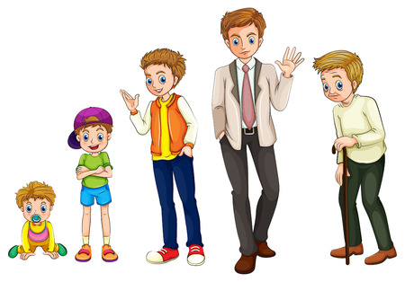 phases: Illustration of a man from childhood to adulthood on a white background