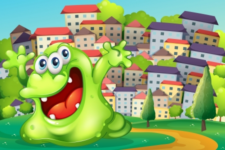 hilltop: Illustration of a monster shouting for joy at the hilltop across the tall buildings