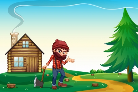 barnhouse: Illustration of a hill with a wooden house and a lumberjack