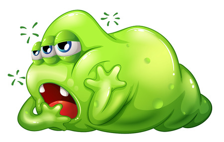 tiresome: Illustration of a greenslime monster in boredom on a white background