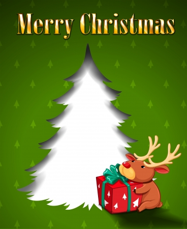Illustration of a green christmas card with a reindeer hugging a gift Vector