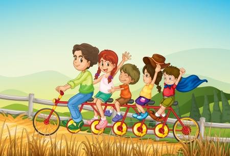 Illustration of the happy kids riding the bicycle at the farm Vector