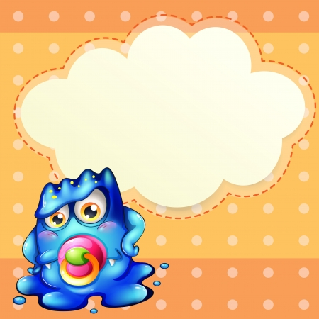 Illustration of an empty cloud template at the back of a young monster Vector