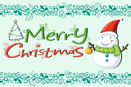 Illustration of a christmas card with a snowman with a green scarf