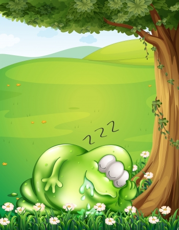tiresome: Illustration of a hilltop with a monster sleeping under the tree