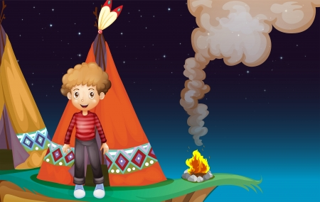 adventurer: Illustration of a boy camping at the cliff in the middle of the night