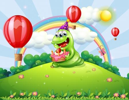 丘の上で彼の誕生日を祝う幸せな緑モンスターのイラスト