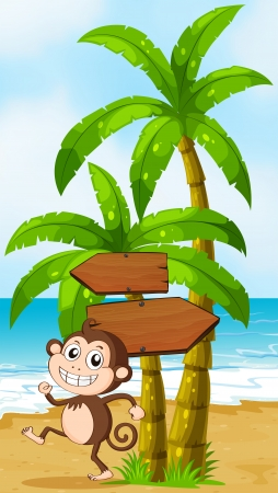 Illustration of a beach with a monkey playing near the palm trees with arrowboards Vector