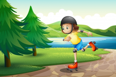 rollerskate: Illustration of a young girl rollerskating at the riverbank with pine trees