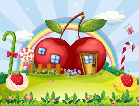 Illustration d'une colline avec deux maisons de pomme et un arc en ciel Vecteurs
