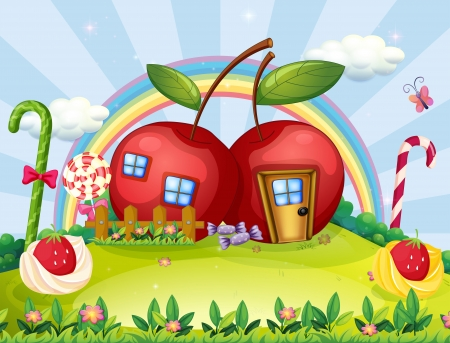 casita de dulces: Ilustraci�n de una colina con dos casas de manzana y un arco iris