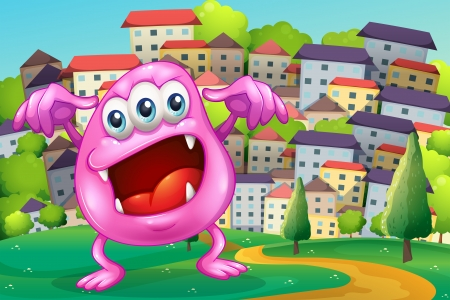 Illustration of a beanie monster shouting at the hilltop across the buildings Vector