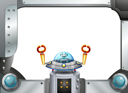 Illustration of a metal frame border with a robot inside a saucer Illustration