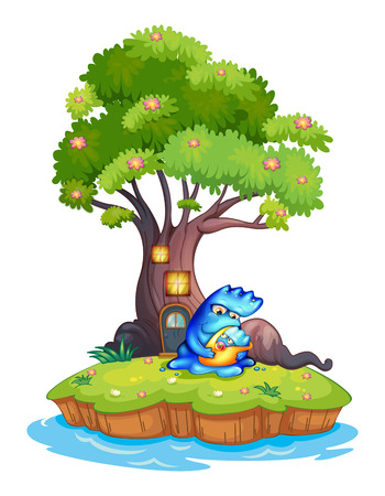 critters: Illustration of an island with a tree house and a monster with a child on a white background