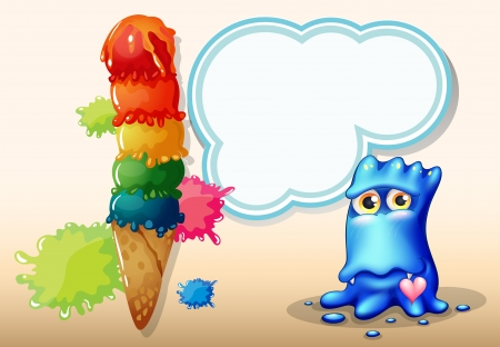 inlove: Illustration of a giant icecream beside the blue monster with an empty callout Illustration