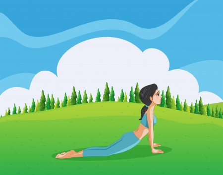 hilltop: Illustration of a young lady doing yoga at the hilltop Illustration