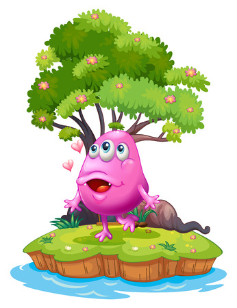 inlove: Illustration of an island with a pink monster near the giant tree on a white background