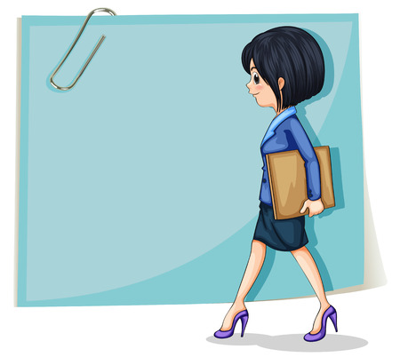 Illustration of a woman holding a binder in front of the empty signage on a white background