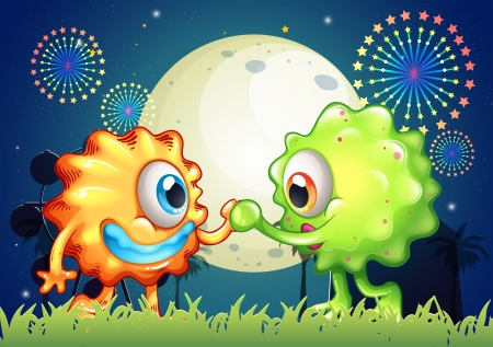 Illustration of the two monster friends at the carnival Vector