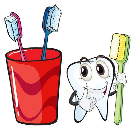 aseo personal: Ilustración de un diente que sostiene un cepillo de dientes al lado del vaso sobre un fondo blanco