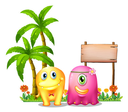 Illustration of a yellow and a pink monster couple standing in front of the empty signage on a white background Vector