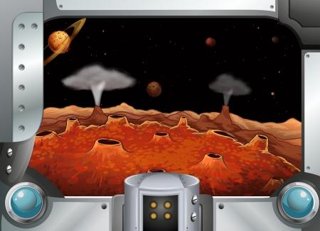margen: Ilustración de una metalframe con los planetas