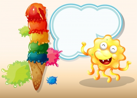 Illustration of a giant icecream beside the happy yellow monster Vector
