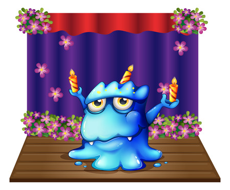 lighted: Illustration of a stage with a blue monster balancing the three lighted candles on a white background Illustration