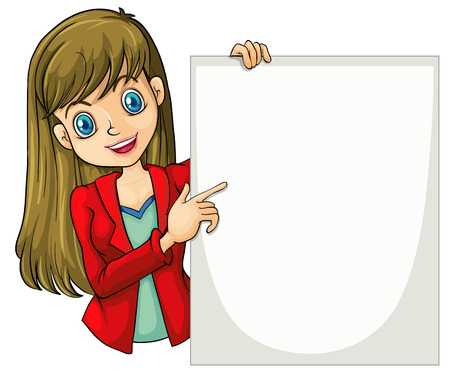 blazer: Illustration of a beautiful businesswoman holding an empty signage on a white background Illustration