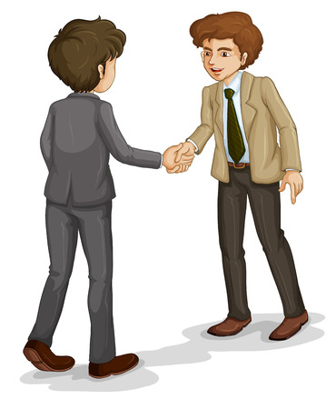 two men talking: Illustration of the two businessmen shaking hands on a white background