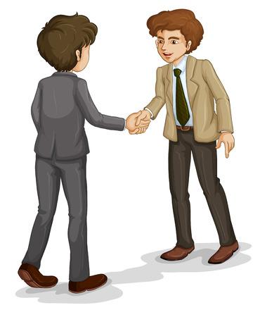mani che si stringono: Illustrazione dei due uomini d'affari si stringono la mano su uno sfondo bianco