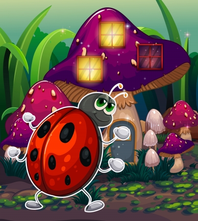 Illustration of a bug in front of the lighted mushroom house Vector