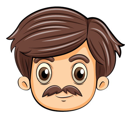 frown: Illustration of a head of an adult with a mustache on a white background