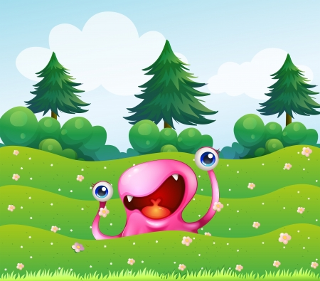 forest cartoon: Illustration of a pink monster near the pine trees
