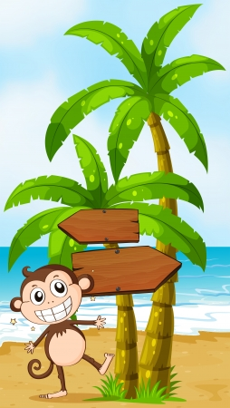 Illustration of a beach with a smiling elephant near the wooden signboard Vector